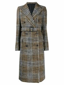 Tagliatore houndstooth check coat - Black