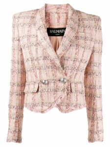 Balmain double-breasted tweed blazer - Pink