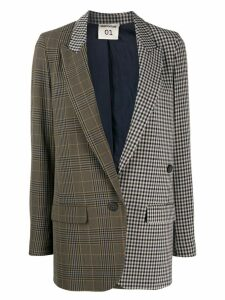 Semicouture checked patchwork blazer - Brown