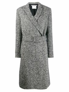 Stella McCartney melange knit wool coat - Black