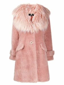 Elisabetta Franchi faux fur button up coat - Pink