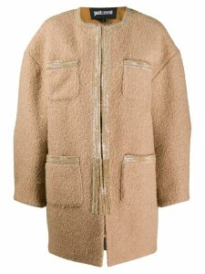 Just Cavalli patch pocket cocoon coat - Brown