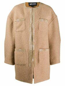 Just Cavalli patch pocket cocoon coat - Brown