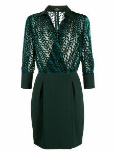 Elisabetta Franchi devoré logo mini dress - Green
