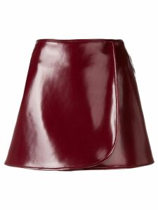 Emilio Pucci Bordeaux Patent Mini Skirt - Red