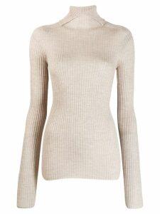 Jil Sander turtleneck ribbed knit sweater - Neutrals