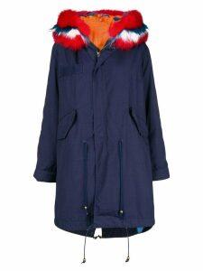 Liska contrast fur hood parka coat - Blue