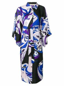 Emilio Pucci Hanami Print Beaded Collar Kimono Dress - Blue