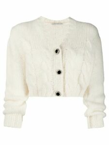 Alessandra Rich cropped knit cardigan - White