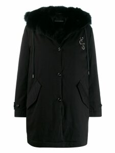 Ermanno Scervino trimmed mid-length coat - Black