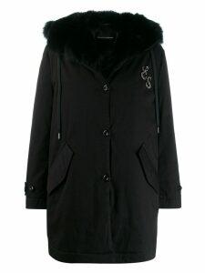 Ermanno Scervino trimmed mid-length coat - Black