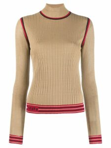 Fendi long-sleeved high collar top - Neutrals