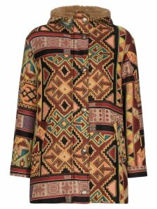 Etro Aztec-pattern shearling jacket - Brown