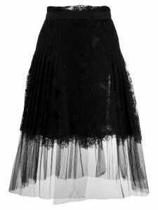 Ermanno Scervino pleated lace midi skirt - Black