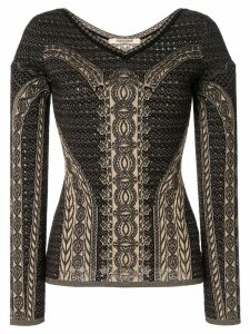 Roberto Cavalli henna jacquard knit top - Black