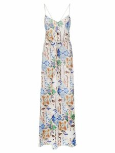 Esteban Cortazar tile print maxi dress - Blue