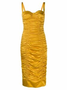 Dolce & Gabbana ruched bustier bodycon dress - Yellow