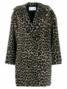 Harris Wharf London leopard-print faux fur coat - Black