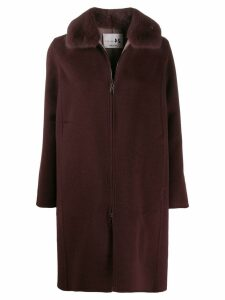 Manzoni 24 mink collar coat - Purple