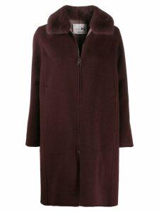 Manzoni 24 mink collar coat - PURPLE