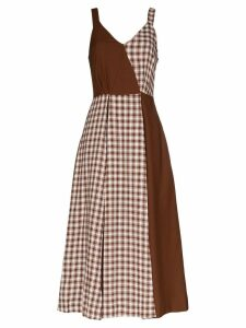 Rejina Pyo check panel midi dress - Brown