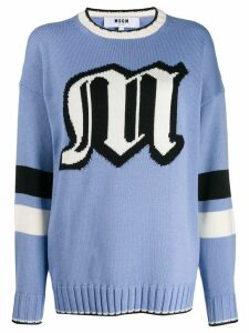 MSGM oversized logo knitted sweater - Blue