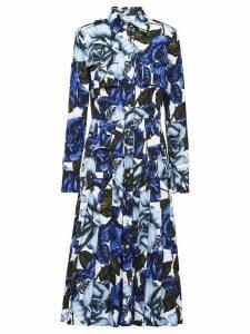 Prada poplin rose print dress - Blue