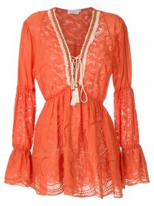 Brigitte long sleeved short dress - Orange