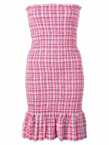 CALLIPYGIAN Seersucker Plaid Smocked Dress - Pink