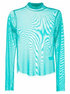 CALLIPYGIAN rollneck sheer top - Blue
