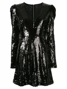 Rachel Gilbert Quincy shoulder detail sequin dress - Black