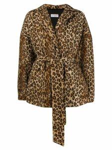 Alberto Biani leopard print oversized jacket - Neutrals