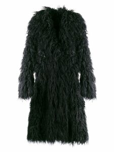 Paco Rabanne faux fur oversized coat - Black