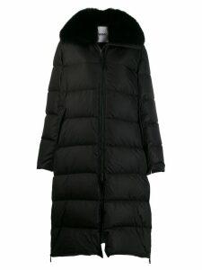 Yves Salomon longline puffer coat - Black
