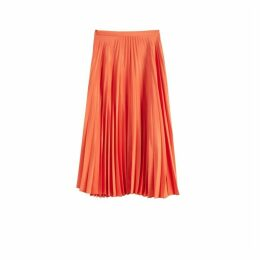 Chinti & Parker Orange Pleated Crepe De Chine Midi Skirt