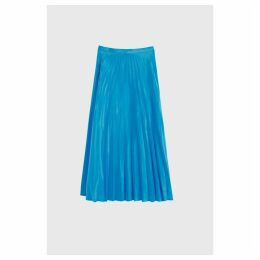 Chinti & Parker Blue Pleated Crepe De Chine Midi Skirt