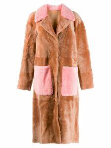 Drome contrast details fur coat - Brown