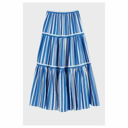 Chinti & Parker Blue Striped Parasol Tiered Maxi Skirt