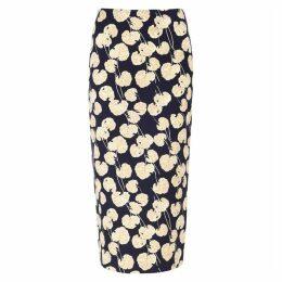 Diane Von Furstenberg Kara Printed Satin Midi Skirt