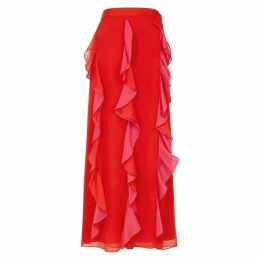 Diane Von Furstenberg Salona Red Ruffled Georgette Midi Skirt