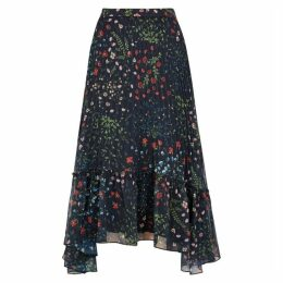 Joie Noora Navy Floral-print Pleated Skirt