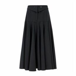 Palmer//harding Fused Navy Stretch-wool Midi Skirt