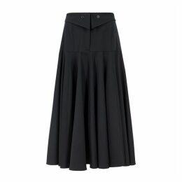 Palmer//harding Fused Navy Stretch-wool Midi Skirt