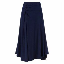 Maggie Marilyn Honey Ain't Home Navy Ribbed Jersey Midi Skirt