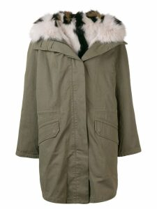 Yves Salomon oversized hooded coat - Green