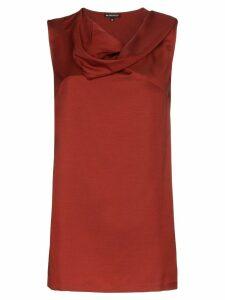 Ann Demeulemeester cowl-neck sleeveless blouse - ORANGE