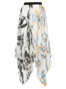 Marina Moscone asymmetric pleated skirt - White