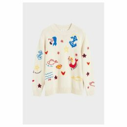 Chinti & Parker Cream Mermaid Chunky Knit Sweater