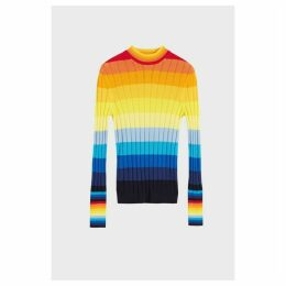 Chinti & Parker Rainbow Ombre Sunset Pointelle Sweater