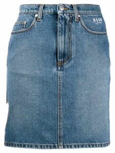 MSGM heart cut-out denim skirt - Blue